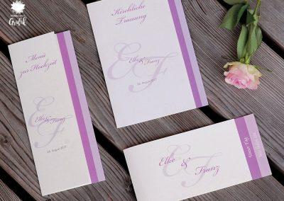 Hochzeit Einladung und Speisekarten