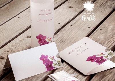 Hochzeit Einladung und Speisekarten Rosa 2